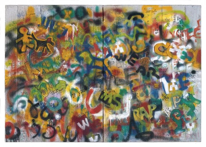 2013, Mix media, Acrylic and spray paint on concrete, 124/174 cm