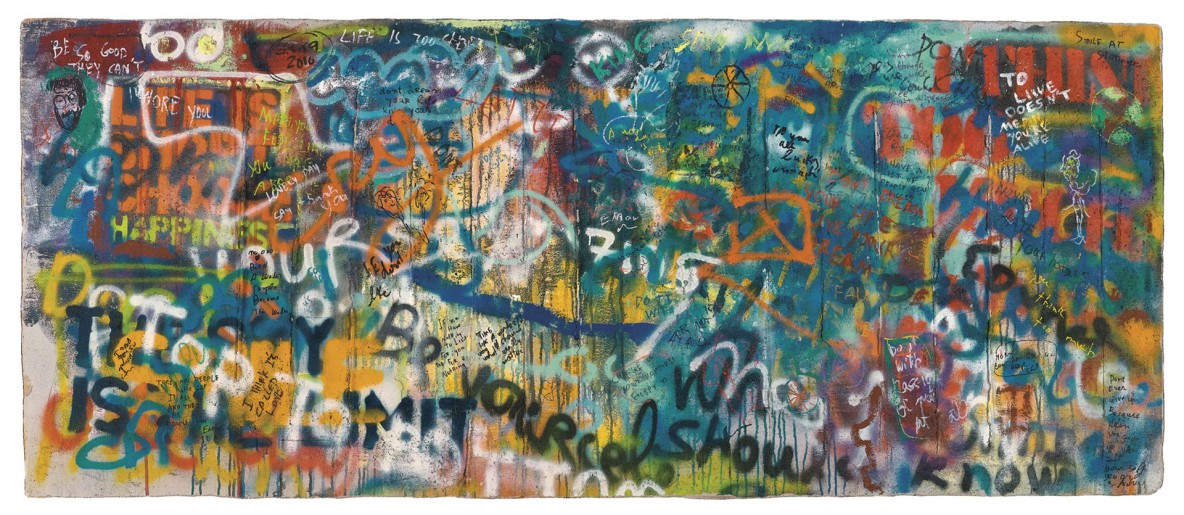 2013, Mix media, Acrylic and spray paint on concrete, 110/220 cm